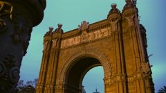 Arc de Triomf gate in Barcelona, sightseeing tour around Spain, Spanish landmark Stock Footage