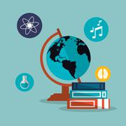Education and earth globe with academia related icons image Piirros