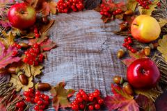 Frame of apples, acorns, berries and fall leaves on the rustic wooden backgro Stock Photos