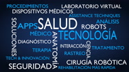 Health technology word tag cloud - blue, Spanish variant Stock Footage