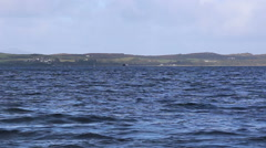 Ferry crossing Sound of Gigha from Kintyre Scotland Stock Footage