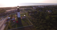 Aerial of Tybee Island Light Station Lighthouse and Beach Stock Footage