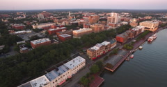 Flyover of Downtown Savannah at Sunrise Stock Footage