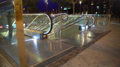 Subway station exit in night megalopolis, people using urban public transport Stock Footage