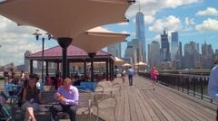 Lunch break at the J. Owen Grundy Park Jersey City Stock Footage