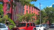 Residential neighborhood in Jersey City Stock Footage