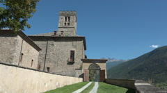 Sarre, Aosta valley, Italy. View of entrance of medieval Castle of Sarre Stock Footage