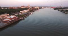 Flyover of Savannah at Sunrise Stock Footage