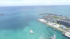 Yachts, Catamaran and Boats along the Coastline of Barbados in the Caribbean Stock Footage