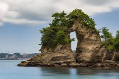 View of Meganeiwa rock and sea in the morning, Chiba prefecture, Japan Stock Photos