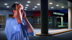 4K Relieved Hospital Patient Care, Emergency Room, Mobile Phone Call Stock Footage