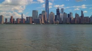 View of Lower Manhattan fron New Jersey Stock Footage