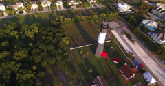 High View of Tybee Island Light Station Lighthouse Stock Footage