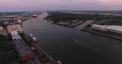 Tugboat on Savannah River from Aerial Perspective Stock Footage