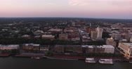 Downtown Savannah Aerial Flyby at Sunrise Stock Footage