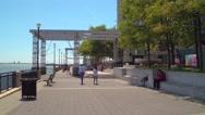 Hudson River Waterfront Walkway 4k Stock Footage