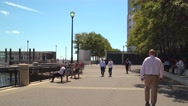 Hudson River Waterfront Walkway Jersey City Stock Footage