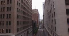 Drone flying sideways, revealing main street in Financial District Stock Footage