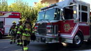 Coquitlam fire emergency personnel in rescue action. Stock Footage
