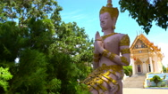 Buddha statue at Thai temple Stock Footage