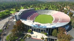 Aerial Drone Footage of Rose Bowl Football Stock Footage