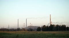 Air pollution. Factory in the contryside The plant is located in the city Stock Footage