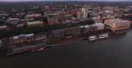 Downtown Savannah Aerial Perspective at Dawn Stock Footage