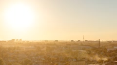 Sunset over the city of Karaganda. Kazakhstan. Zoom. Time Lapse Stock Footage