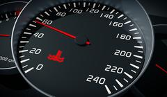 Coolant warning light in car dashboard. Engine overheating control. 3D render Stock Illustration