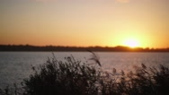 Beautiful sunset by the river. Sunset in the countryside Stock Footage