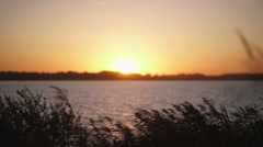 Sunset on the river bank. The orange setting sun Stock Footage