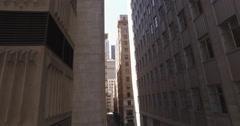 Drone flying sideways revealing buildings Stock Footage