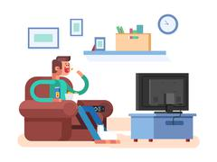 Man watching TV Stock Illustration