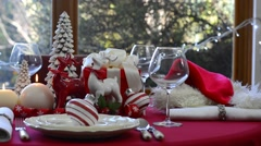 Stylish red and white Christmas table Stock Footage