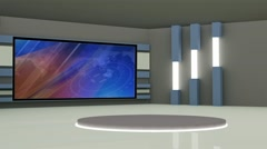 News TV Studio Set 228- Virtual Green Screen Background Loop Stock Footage