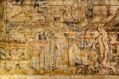 Ancient Thai mural painting on wooden temple wall Stock Photos