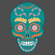 Colored Day of The Dead Sugar Skull with ornament. Vector illustration Stock Illustration