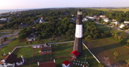 Aerial View Around Tybee Island Light Station Lighthouse Stock Footage