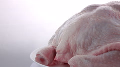 Fresh chicken meat rotating at white background Stock Footage