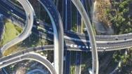 Top down Aerial view of Highway interchange Stock Footage
