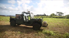 The U.S. Army experiments with remote controlled vehicles. Stock Footage