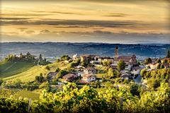 View of Treiso village in langhe, northern italy on late summer Stock Photos