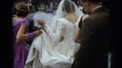 1962: bride on her wedding day outside on street NEW YORK CITY Stock Footage