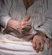Old woman showing ok sign Stock Photos