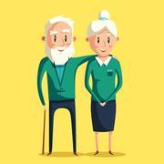Happy grandparents. Vector cartoon illustration Stock Illustration