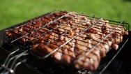 Meat is fried on coals. Camping. Appetizing roasted meat Stock Footage