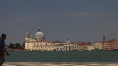 View of San Marco Place from San Giorgio Maggiore Stock Footage