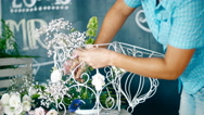 Hands Female Florist Make Up The Composition Of Flowers Stock Footage