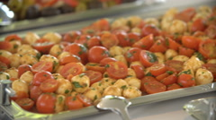 Cherry tomatoes and mushrooms on the buffet table Stock Footage