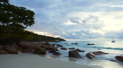 Time lapse of dramatic coastline at Anse Lazio, Seychelles Stock Footage